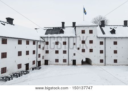 Facade Of Turku Castle Bailey And Inner Courtyard