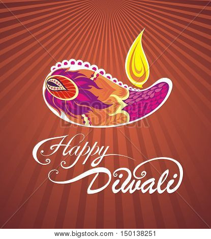 Yellow color background design for Diwali festival with beautiful lamp