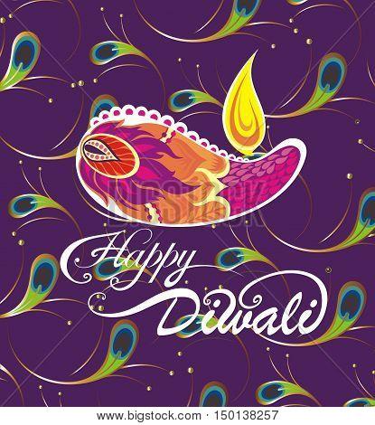 Diwali festival.Beautiful greeting card for Hindu community festival Diwali