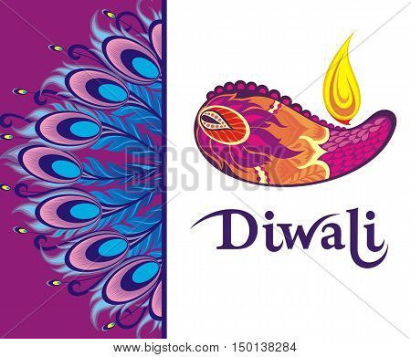 Happy Diwali festival background .  Diwali illustration