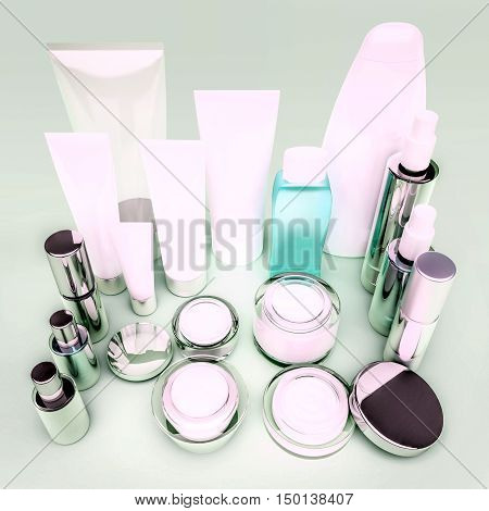 Skin care products on green. 3D illustration