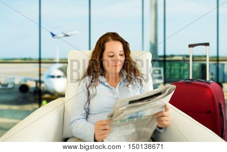 woman commenting economy news in vip zone aiport