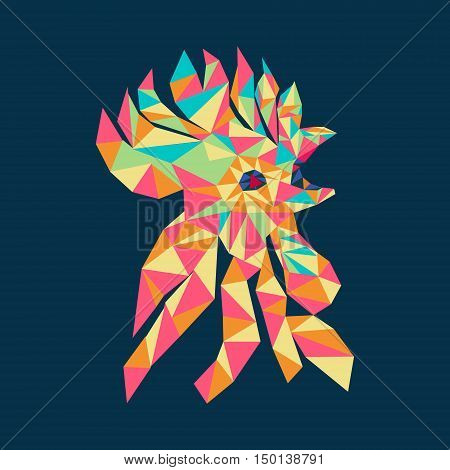 Vector Isolated rooster head colorful triangle decorative Logo illustration