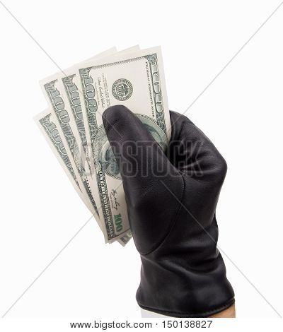 stealing thief with black gloves dollars with white background
