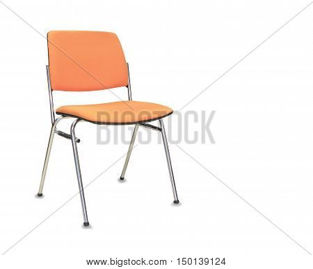 The orange office chair. Isolated over white