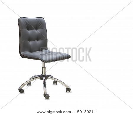 Modern office chair from black leather isolated