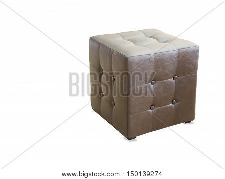 Brown pouf ottoman isolated over white back