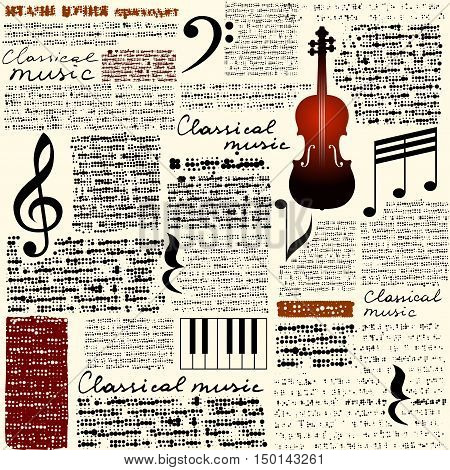 Treble clef and notes on blurred background. Seamless Classical music background