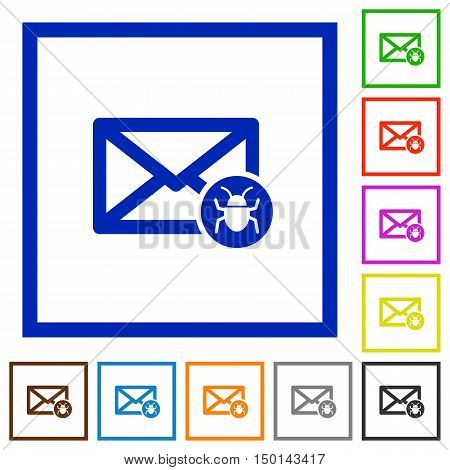 Set of color square framed Spam mail flat icons