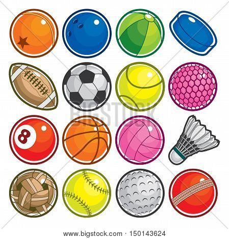 Vector Set of Colorful Sport Balls Icon