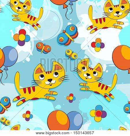 Vector seamless pattern with cute kittens on a blue background. Baby background for fabric, paper, interior design or clothing. Colorful cat - stock vector