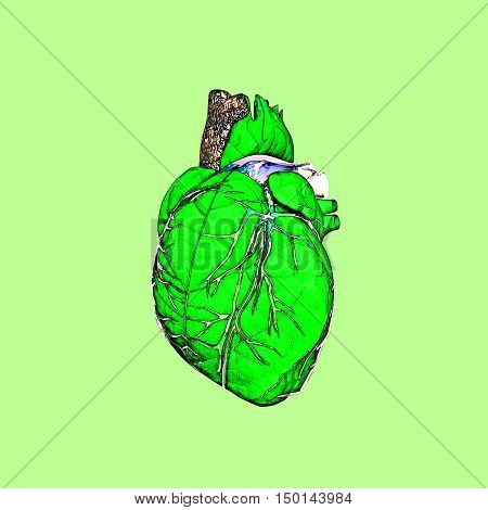 Spring. A green leaf a tree trunk spring streams - in the form of nature heart. Heart beat of the nature. 3D illustration