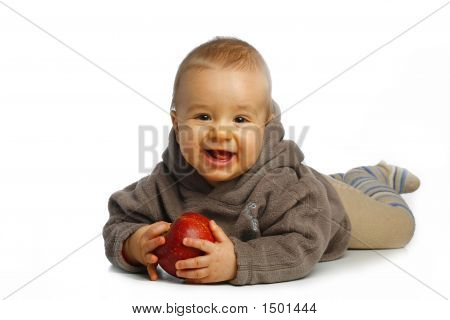 Small Boy With Apple