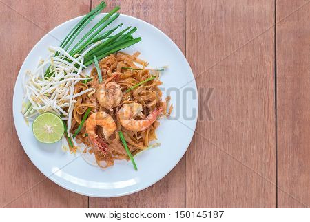 Shrimps Pad Thai Thai Food Thailand's national dishes.