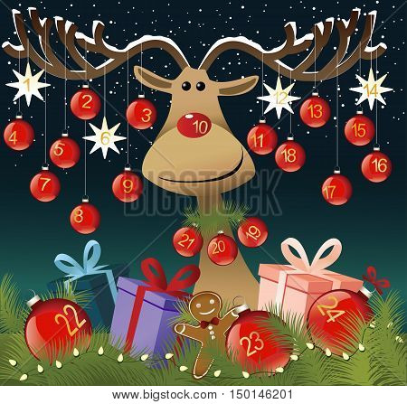 Funny Advent calendar with reindeer - vector illustration
