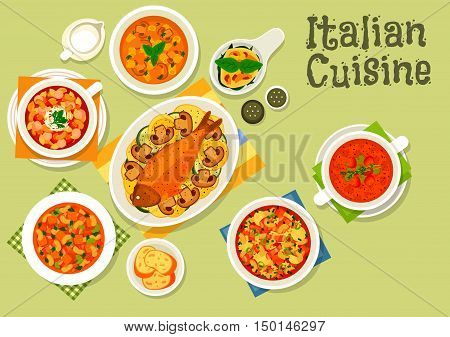 Italian cuisine icon with mushroom cream soup, tomato bean soup with sausage, florentine egg with spinach, minestrone pasta soup, baked fish, bean soup with bread and ham, tomato vermouth soup