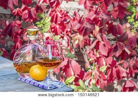 Bottle with a snifter of brandy and the lemon on the old table in autumn garden's