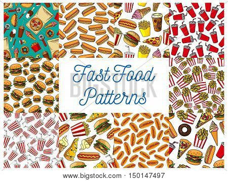 Fast food dishes menu with drinks and desserts seamless patterns set of hamburger, pizza, hot dog, soda and coffee drinks, french fries, ice cream cone and popcorn