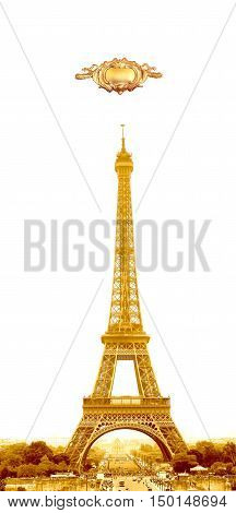 Isolated gold Eiffel Tower in Paris France