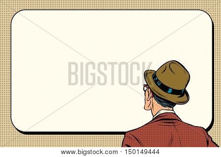 man standing back and looking on white background, pop art retro vector illustration