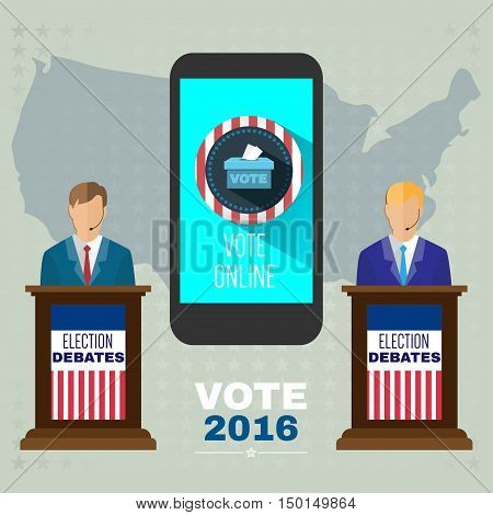 Digital vector usa election with vote online, candidates debates tribune and mobile phone, flat style