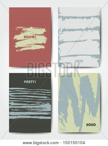 Modern grunge brush postcard template, art vector cards design in season colors