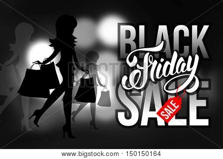 Sale advertising inscription. Black Friday banner. Vector stock template for your business design.