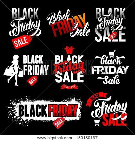 Sale advertising inscriptions set. Black Friday emblems. Vector stock templates set for your business design.
