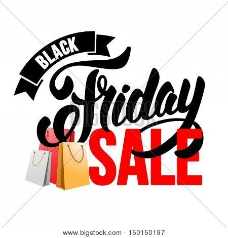 Sale advertising calligraphic inscription. Black Friday banner with packing bags. Vector stock template for your business design. Isolated on white background.