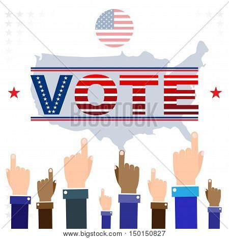 Digital vector usa election with hand in the air pointing, vote, flat style