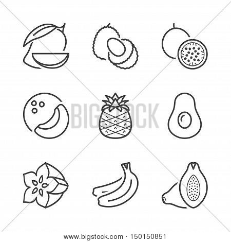 basic tropical and exotic fruits thin line icons set. isolated. black color