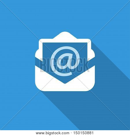 email blue icon with shadow. technology background