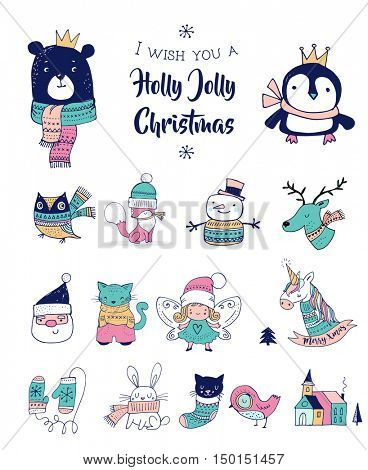 Christmas hand drawn cute doodles, stickers, illustrations. Penguin, bear, fox and bunny