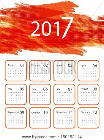 Grungy bright 2017 vector calendar design. Elements for your work. Eps10