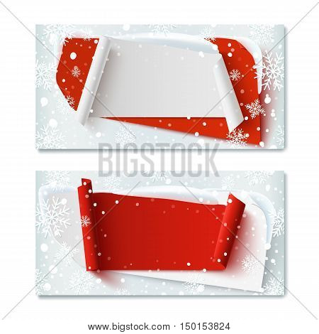 Two, blank, Christmas Time, winter gift voucher templates, with abstract banners, snow and snowflakes. Vector illustration