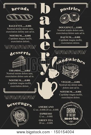 Bakery coffee menu placemat food restaurant brochure; cafe template design. Vintage creative bread flyer with hand-drawn graphic.
