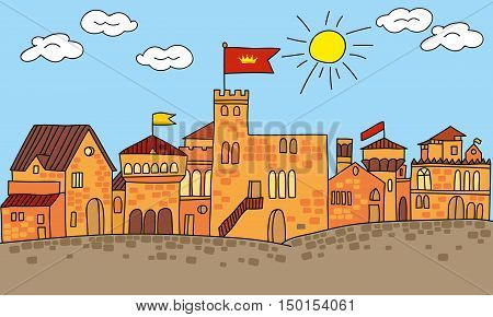 Colorful vector illustration of a cartoon small medieval Castle