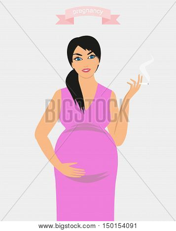 illustration of a pregnant woman smoking a cigarette. Smoking during pregnancy.