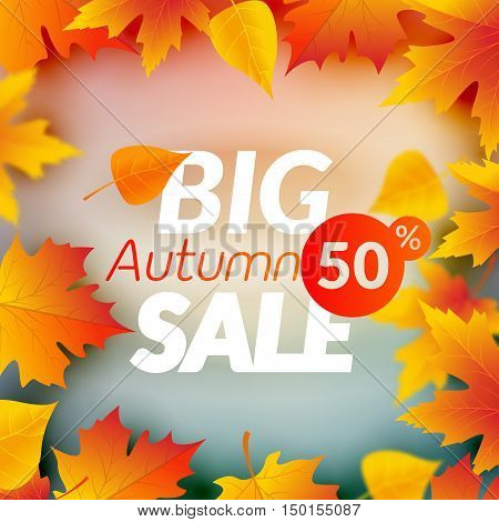 Big autumn sale design template poster. Fall promotional flyer. Autumn 50 percents off discount offer design with leaves.
