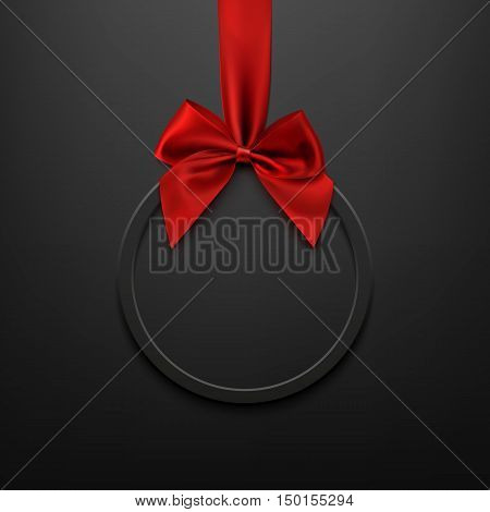Blank, black round banner with red ribbon and bow, on black background. Brochure or banner template. Vector illustration.