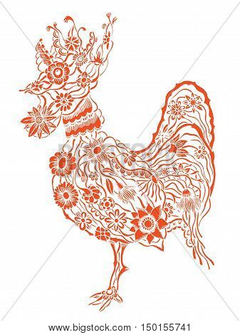 Decorative zentangle Red cock. Hand drawn vector stock illustration. Colorful image. Year 2017 symbol.