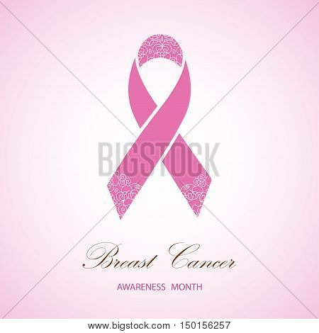 Ornate Ribbon of Breast Cancer on  pink background. Vector illustration can be used for design poster, banner