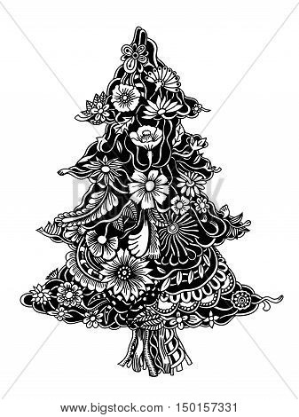 Christmas Tree of beautiful painted flowers. Floral fir-tree, hand drawn zentangle. Monochrome Vector illustration. Use for cards, invitation, wallpapers, pattern fills, web pages elements and etc.