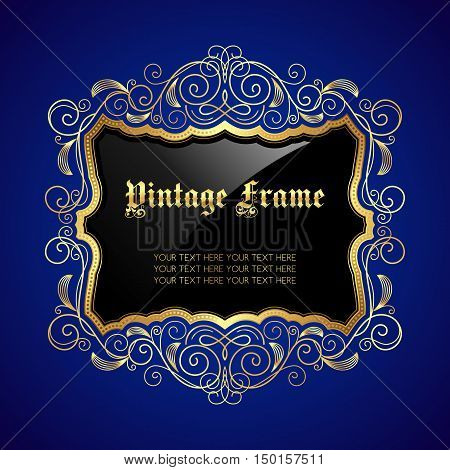 Vintage decorative gold frame with place for text. Vector illustration
