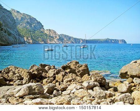 Mediterranean Bay With Boats / Ships, North Of Majorca