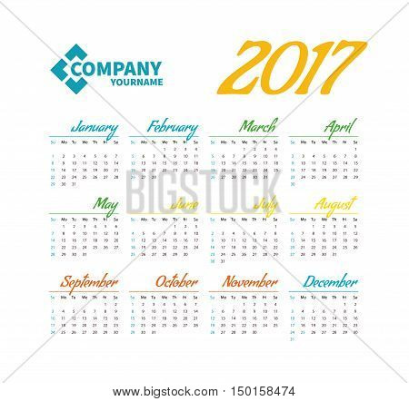 Horizontal pocket calendar on 2017 year. Vector template calendar for business on white background. A place to put the logo.