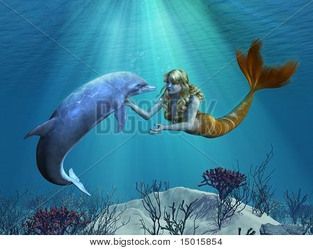 Mermaid With Dolphin Undersea