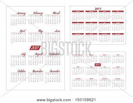 Horizontal pocket calendar on 2017 year. Vector template calendar for business on white background.