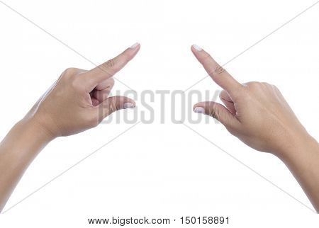 Female fingers pointing your object or text isolated on white background.