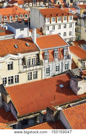Aerial view of old town Lisbon, Portugal.